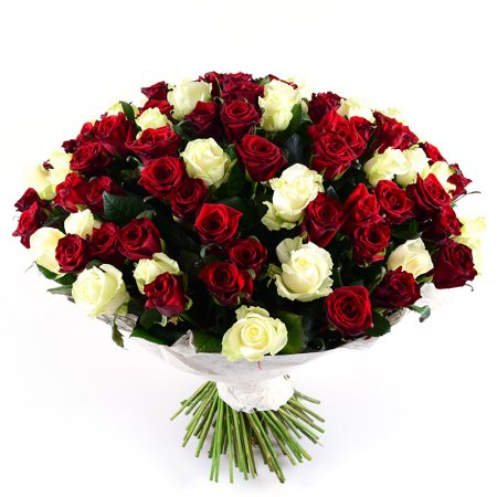 Order the bouquet of 101 red-and-white roses in our online shop. Delivery!
