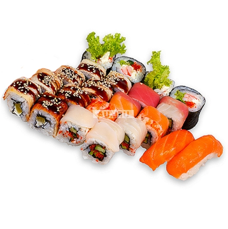 Order delicious sushi, which consist of three sets. Delivery in any city