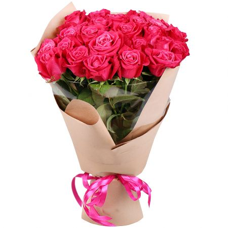Bouquet 25 hot pink roses
