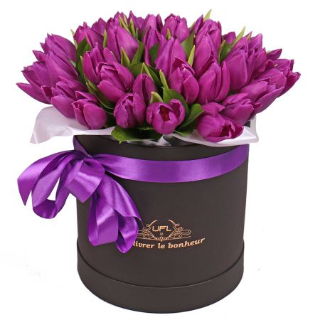 Bouquet Purple tulips in a box
