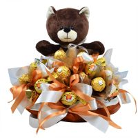 Buy arrangement (bouquet) of chocolates with teddy bear