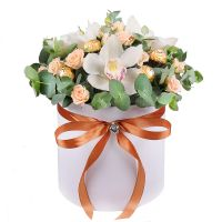 Bouquet Box with roses and orchids