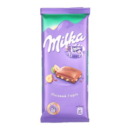 Product Milka with hazelnuts