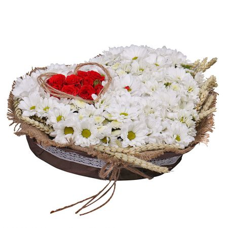 Order an arrangement ''Camomile Heart'' with delivery to any city in Ukraine and worldwide