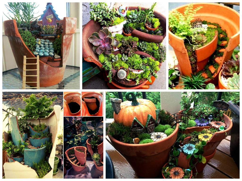 How to make garden in broken pot
