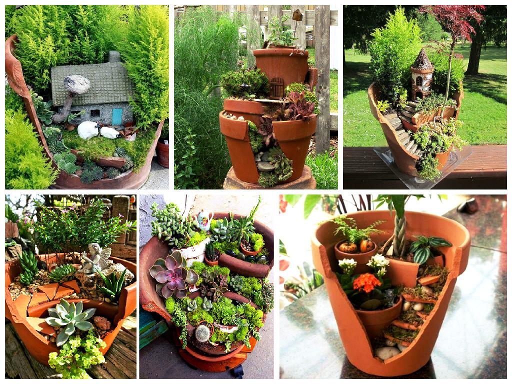 Beautiful gardens in flower pots