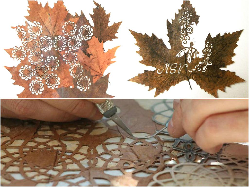 Leaf cutting art