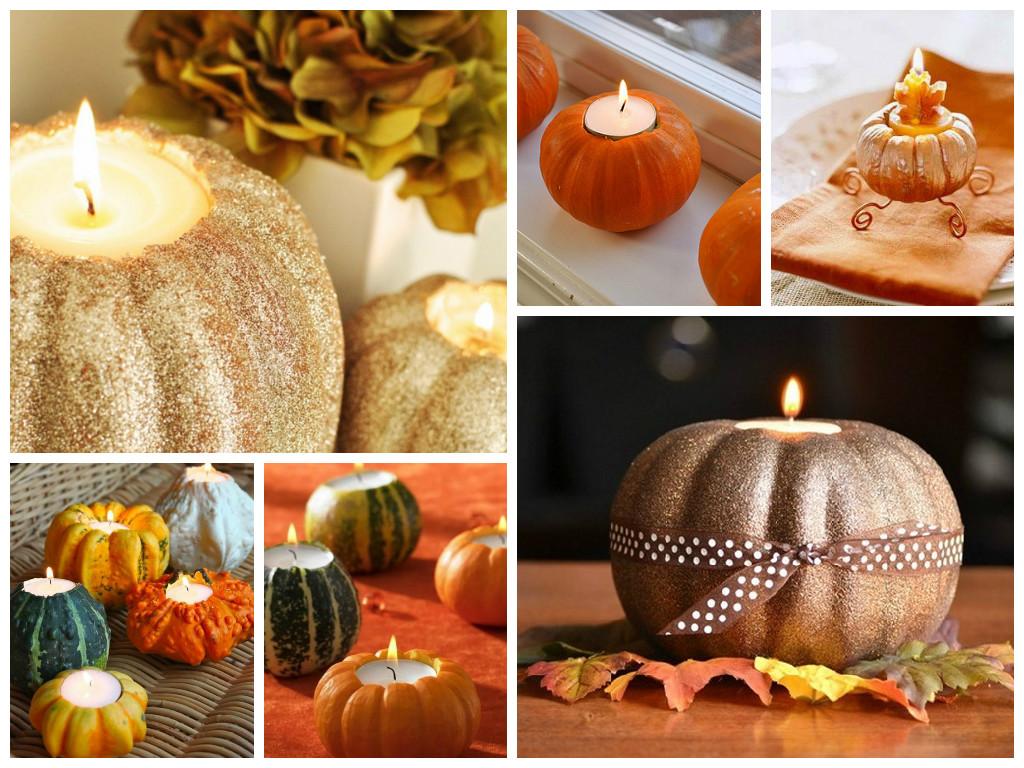 Pumpkin decor candlesticks